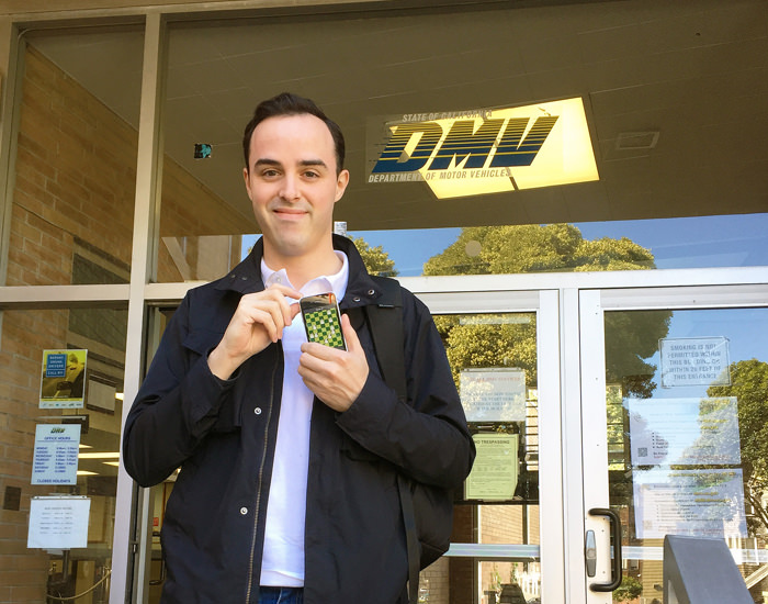 Jon standing outside the California DMV with the Patchmania prototype.